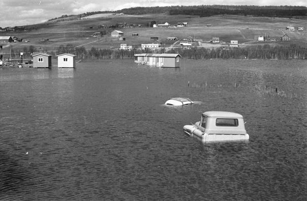Flom i Glomma 1967. Foto: Henrik Svedahl/NVE