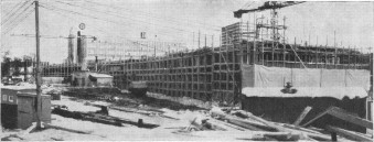 Fotografi fra internmagasinet Fossekallen 1963, mens bygget var under oppføring. Foto: Henrik Svedahl, NVEs arkiv.