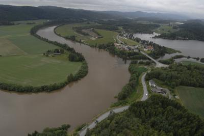 Fra Flommen i Numedalslågen juli 2007. Foto: NVE