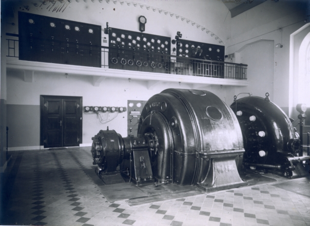 Interiør. Maskinsal. Herlandfoss kraftverk